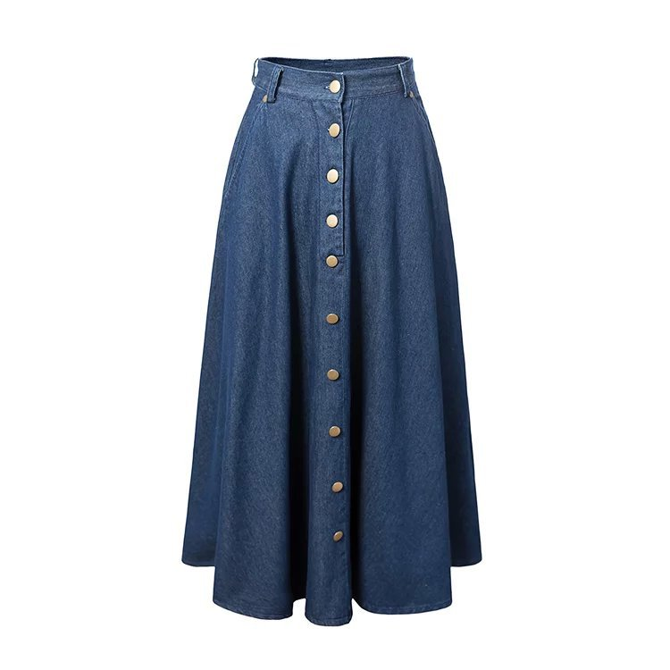 2017 Summer High Waist Single Dreasted Denim Long Skirt For Women Vintage Aline Skirts Womens Saia Saias Falda Faldas In From Clothing