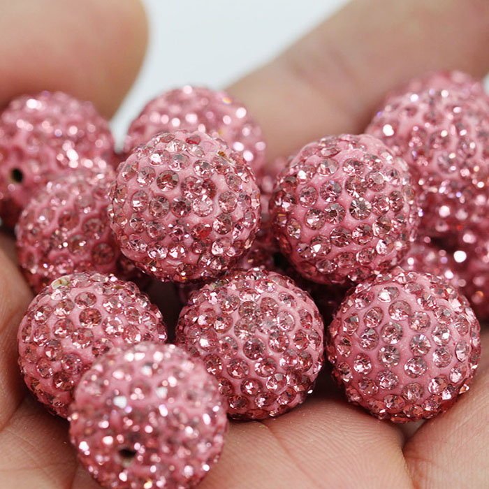 18 X ROUND half drill SHAMBALLA CRYSTAL PAVE CLAY DISCO  BEADS 10mm for earrings