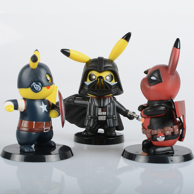 Deadpool Captain America Darth Vader Pikachu Cosplay PVC Figure Collectible Model Toy Small Size 8.5-11cm 3 Styles 1