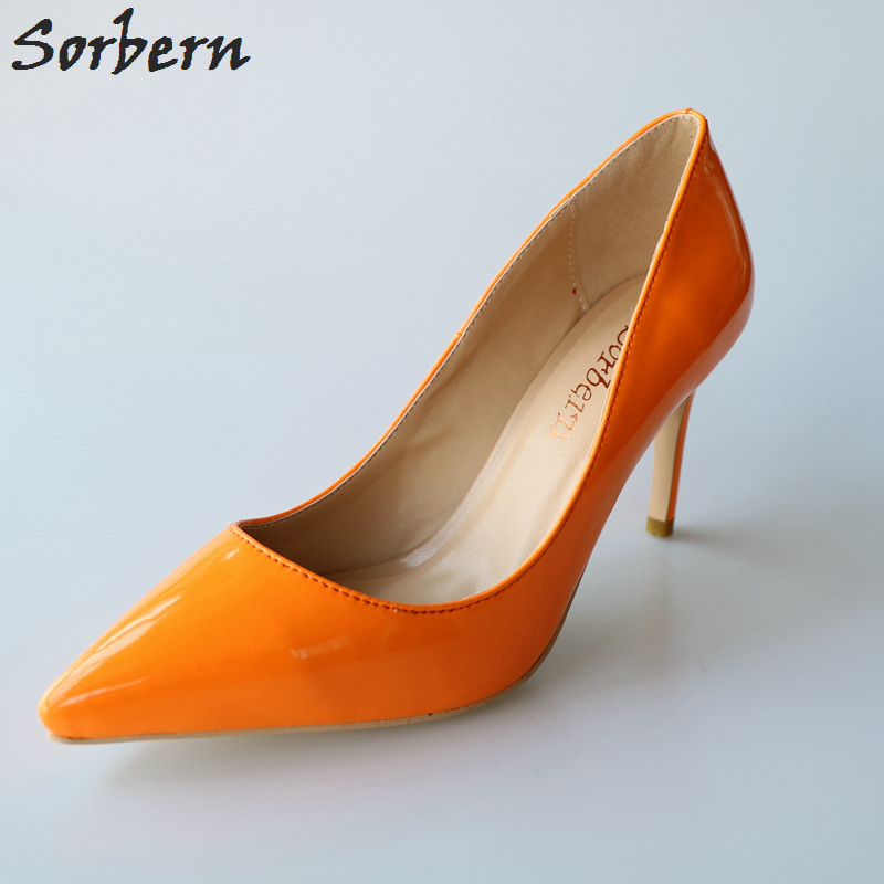 Sorbern Mature Shiny Women Pumps High Heels Pointed Toe Slip On Pumps Women Shoes Designer Shoes Women Luxury 2018 Ol Shoes 2018 spring pointed toe thick heel pumps shoes for women brand designer slip on fashion sexy woman shoes high heels nysiani