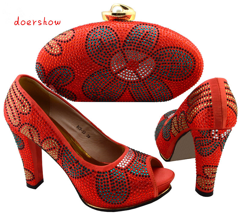 doershow popular style Italian Shoes with Matching bags good quality fashionable shoes and bag set For lady!  BCH1-8 top selling italian shoes and bag to match good quality fashionable shoes and bag set for lady doershow pme1 12