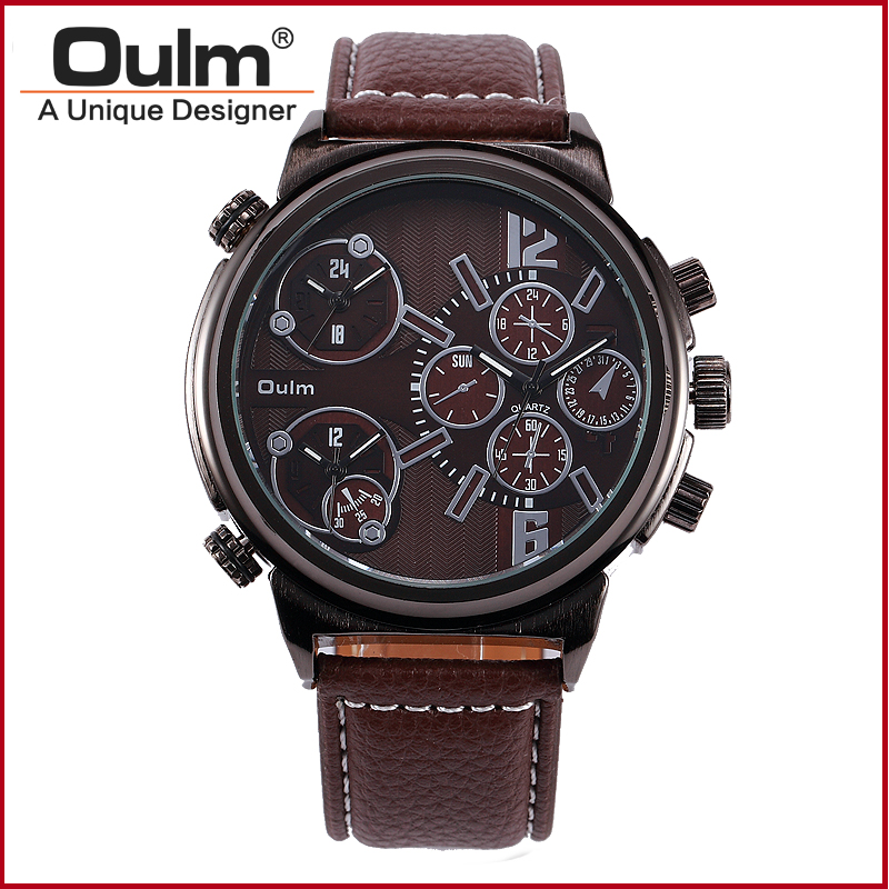 font b Oulm b font 3299 Sport Watch Three Time Brand Zones Quartz font b