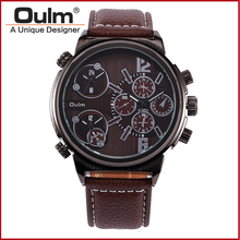 Oulm 3299 Sport Watch Three Time Brand Zones Quartz Luxury Watches Mens Military Watches Relogio Masculino