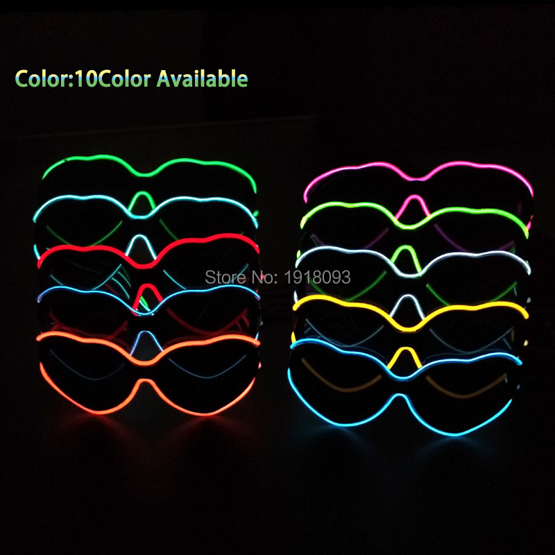 Hot heart-sharped EL Wire Neon LED Strip Glasses Lovers Gift For Christmas Haloween Party 10 color select by 3V Driver