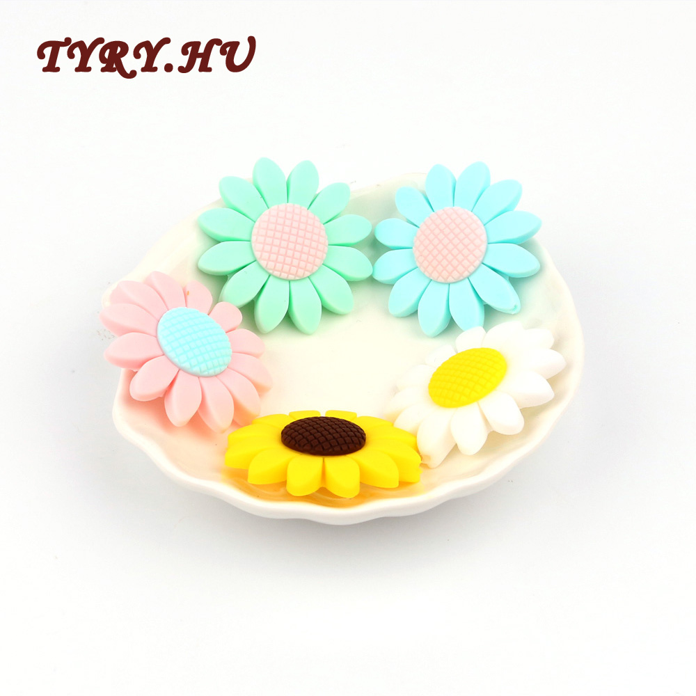 TYRY.HU 2pc Silicone Beads Teether Biter Beads Baby Teething Pendant Silicone Pacifier Clips BPA Free Teething Toys flower Shape цена 2017