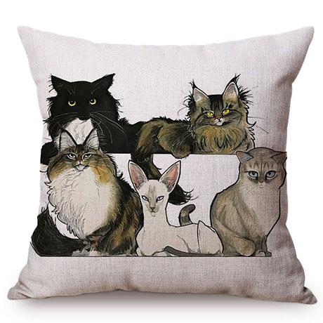 Pet Dog Animals Funny Style Cushion Cover Dachshund Schnauzer Dog Children Like Cotton Linen Sofa Decorative Throw Pillow Case M110-14