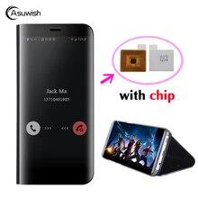 Asuwish Puce Clair Voir Chiquenaude Couverture En Cuir Pour Samsung Galaxy S7 Bord S7 S6 Bord S6 Note 5 Téléphone Cas IC Miroir couverture