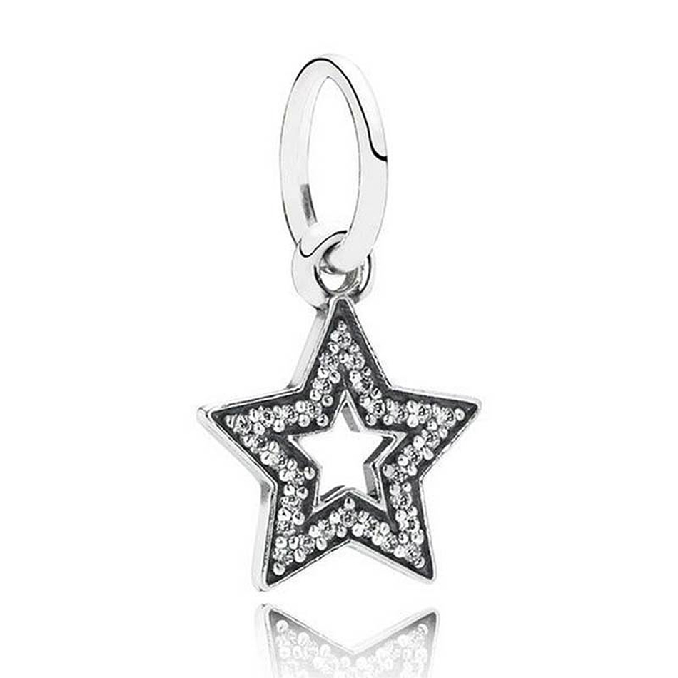 Authentic 925 Sterling Silver Star With Crystal Pendant Beads Charm Fit Pandora Bracelet Bangle For Women DIY Jewelry Marking