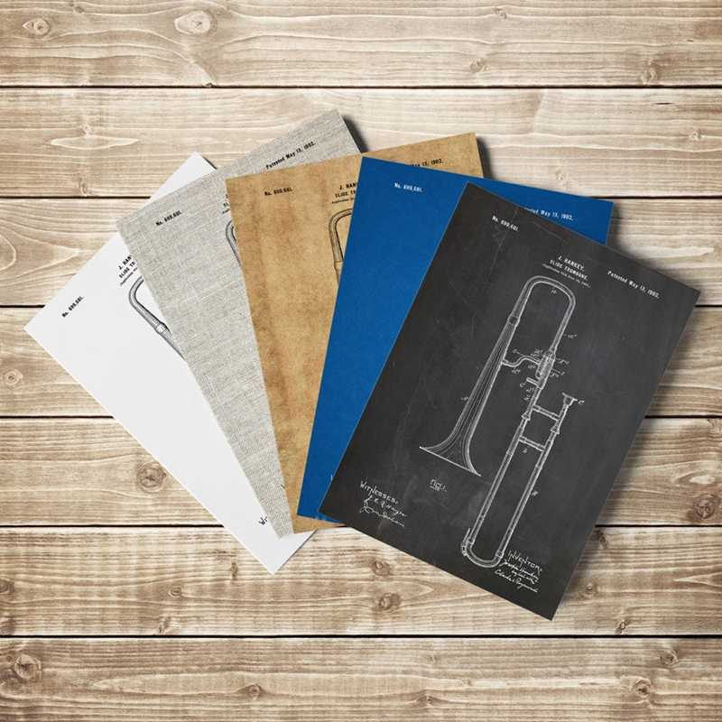 Slide Trombone Blueprint Jazz art Posters Music Room Decor Vintage Canvas Painting Wall Pictures Gift idea Music Poster