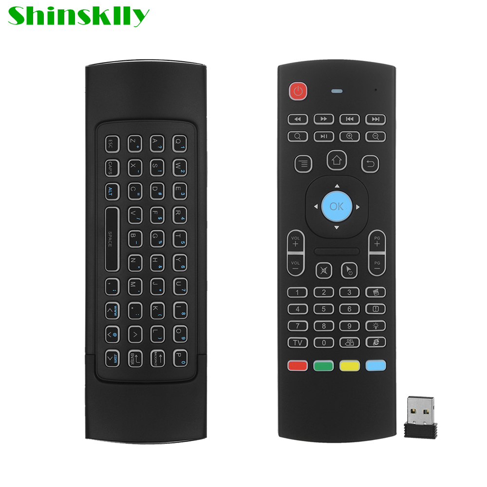 Shinsklly MX3 Air Mouse keyboard Backlight Wireless 2.4G IR Learning Fly Air Mouse Keyboard Backlit For Android TV Box smart tv