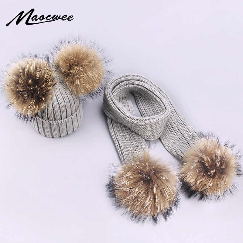 Parent-Child Caps Cute Infant Baby Pompon Winter Hat Scarf Sets Real Natural Fur Ball Caps Mother Kids Warm Knitted Hats Beanies