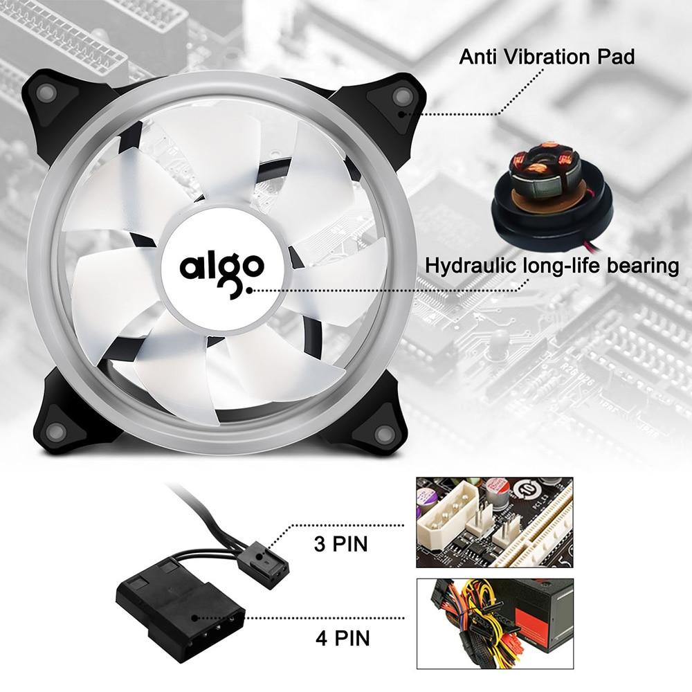 Aigo Halo Ring RGB Case Fan 140mm 3pin+4pin LED Case Fan for PC Case CPU Cooler Radiator Silent Desktop Computer Cooling Fans 3