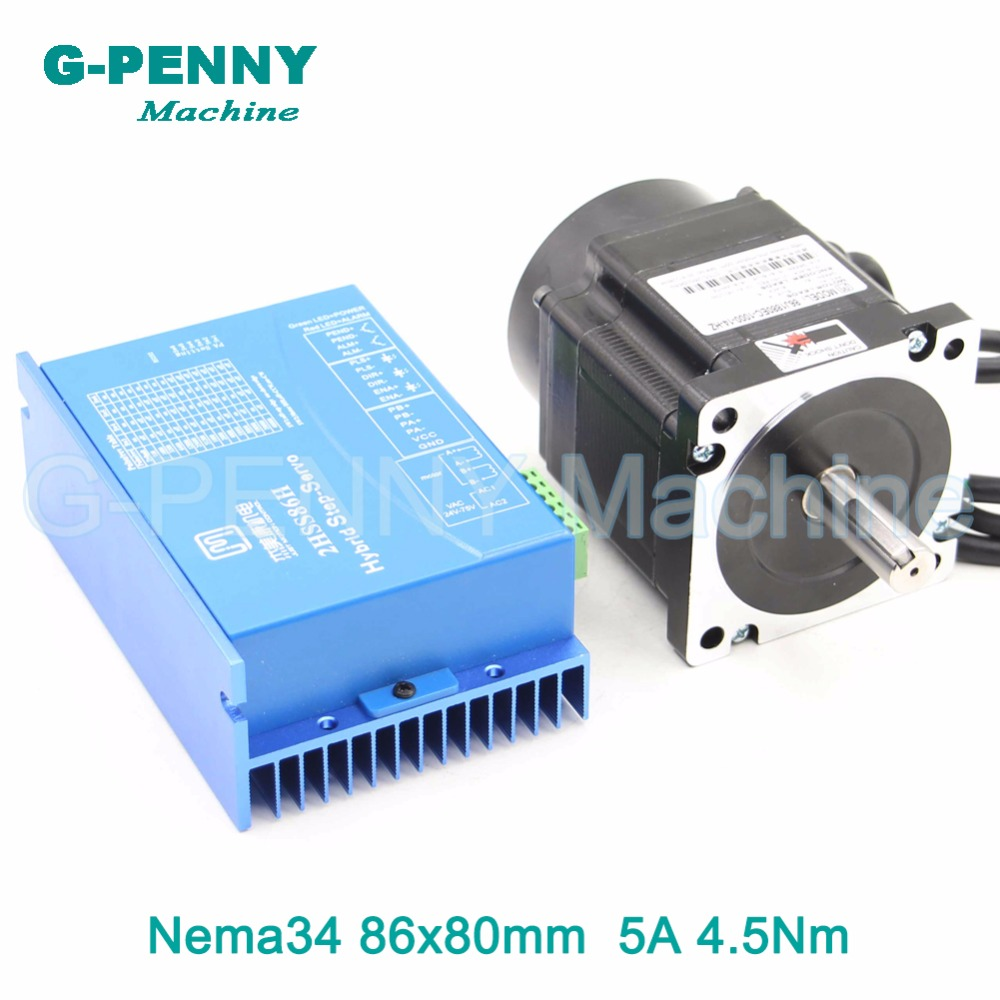 Nema34 closed loop stepper motor 4.5Nm 5A 642Oz-in Hybrid step motor Nema34 Close Loop Motor driver DC(40-110V)/AC(60-80V) yako stepper servo drive ssd2608h voltage dc30 110v ac20 80v modular hybrid closed loop stepper driver 3000r min