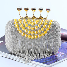 New 2016 Designer Brand Vintage Fashion Rhinestone High-grade Diamond Evening Bag Handmade Shinny Crystals Ladies Party Handbag