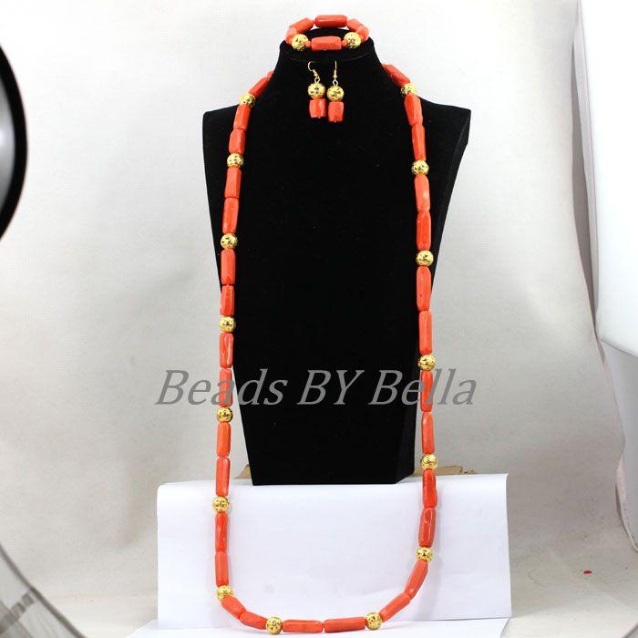 Dernière conception Top qualité perles et bijoux ensemble 50 pouces Long collier ensemble nigérian mariage corail perles collier ensemble ABL306