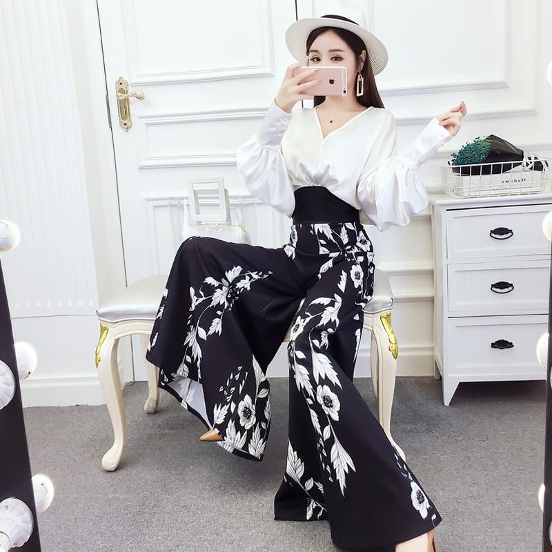 Women Suit Set Elegant Bobo Beach OL Lady V neck Hollow Out Shirt Top Chiffon Print Loose High Waist Full Length Wide Leg Pants 3