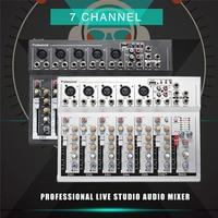 LEORY USB 48 V Mini 7 Canal Mixing Console DJ Profissional Estúdio ao vivo Mixer De Áudio KTV Rede Placa de Som De Som Do Console Mixer