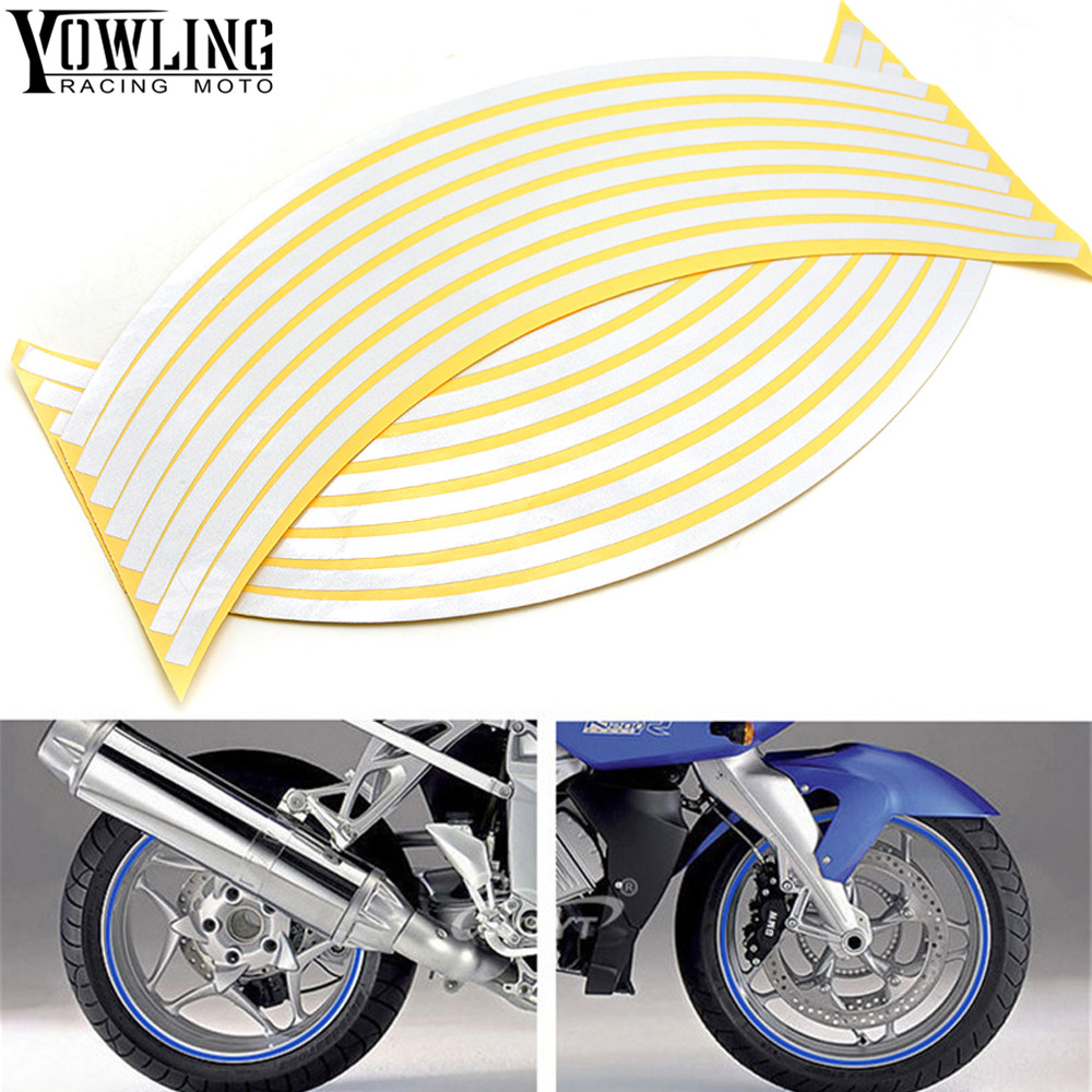 For Yamaha YZF R1 R3 R6 R15 R25 R125 Colorful Motorcycles Wheel Stickers Reflective Rim Moto Stripe Tape