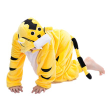 Yellow Tiger Flannel Costumes Kigurumi For Children Kids Onesies Pajamas For Halloween Carnival New Year Party