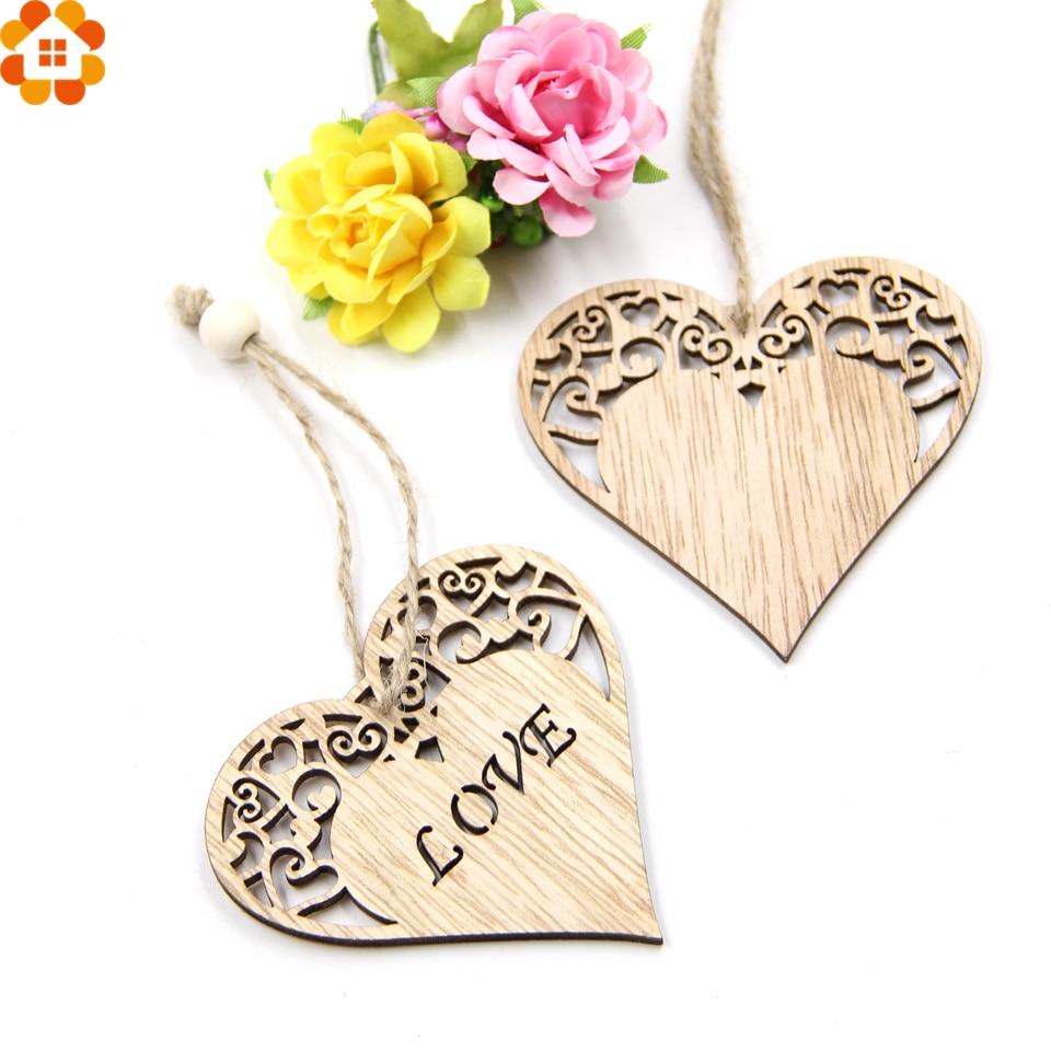 12PCS Love Heart Wooden Pendants Ornaments Wedding Favors DIY Home ...