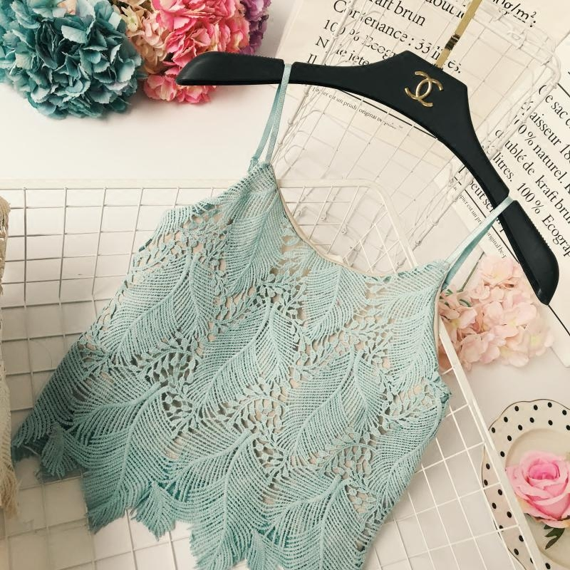 New Summer Ladies Sexy Lace Hook Hollow Out Camis High Stretch Double-deck Camisole Women Holiday Casual Strap Crop Tops