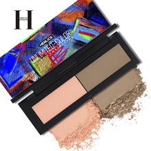 HENLICS 2 in 1 Blush Palette Face Mineral Pigment Blusher Powder Pro Makeup Contour Shadow Beauty Cosmetic