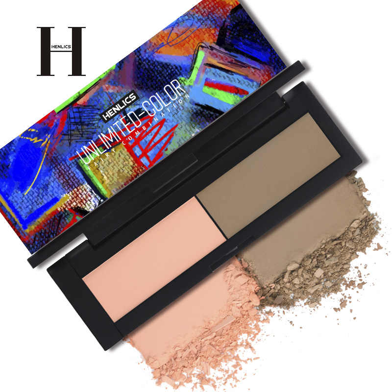 HENLICS 2 in 1 Blush Palette Mineral Pigment Palette Blusher Powder Pro แต่งหน้า Blush Contour Shadow Beauty เครื่องสำอางค์