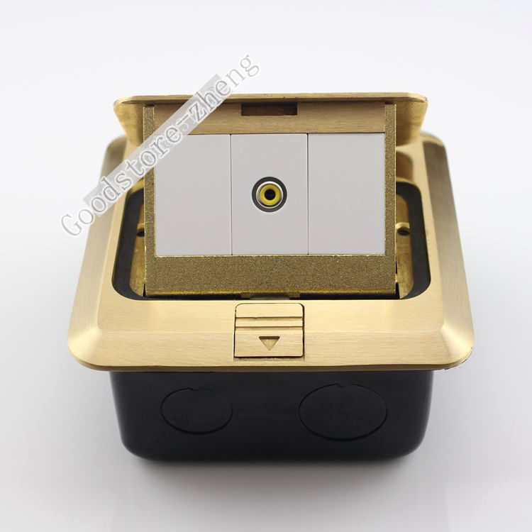 Bronze Pop-up AV Yellow Jack Audio Floor Panel Ground Outlet Socket Receptacle 10pcs rca av 180 degree audio jack socket receptacle connector yellow