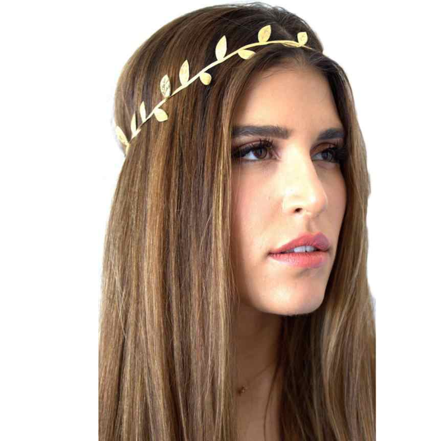 Bronzing Leaves Women Headband Elastics For Girl Hair Head Band