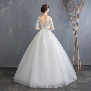 Image 3 - Simple See Through Lace Long Sleeve Wedding Dress 2019 Ball Gown Wedding Dresses China Cheap Bridal Gowns Made In China