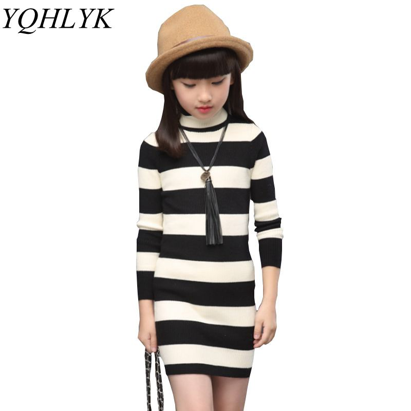New Fashion Autumn Winter Girl Dress 2018 Korean Children Striped High Collar Knit Tight Dresses Sweet Slim Kids Clothes W129