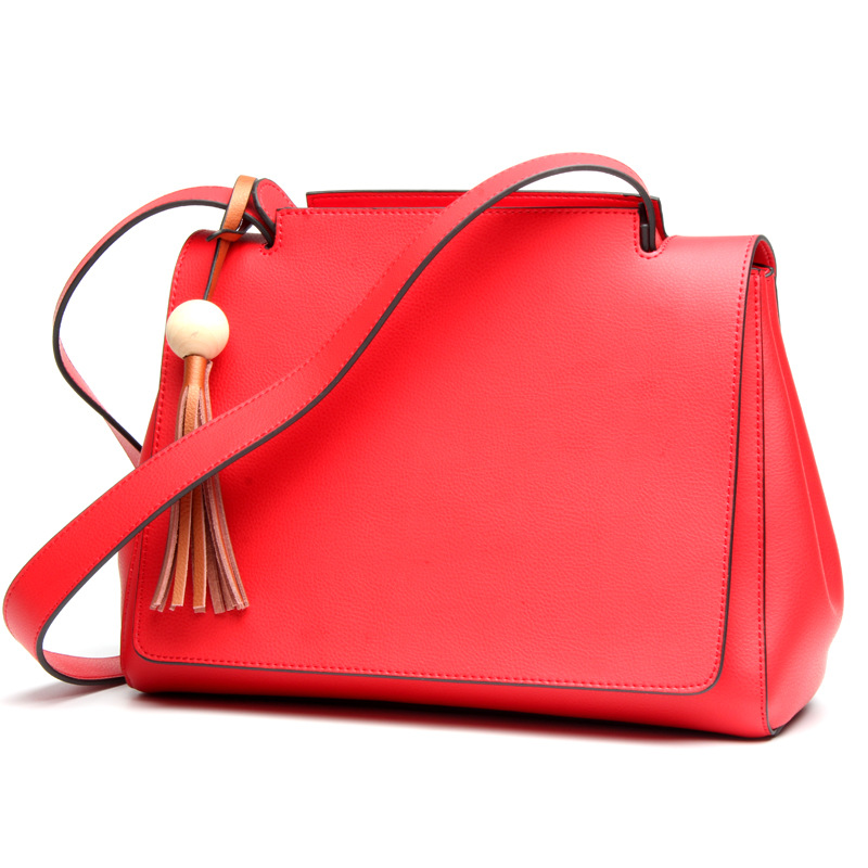 New style ladies fashion full leather shoulder bag Korean style cross models square wide shoulder belt wild leather flip bag fashion style