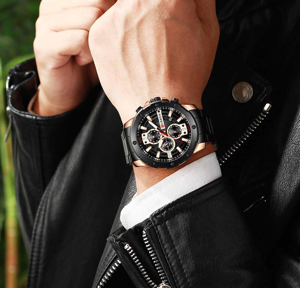 Relogio Masculino الرجال الساعات CURREN ترف الأعلى العلامة التجارية ووتش رجل كوارتز ساعة من الفولاذ المقاوم للصدأ الأزياء ساعة كرونوغراف رجل