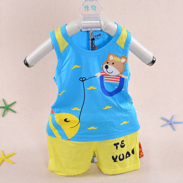 6044bb1041a30 2015 hot summer style boy baby dress 3 months -2 years old baby clothing  Bamboo fiber Boy shorts vest jacket baby clothing set