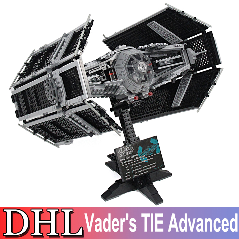 2018 New 1242Pcs Star Wars Model Building Kit Vader's TIE Advanced Fighter Blocks Brick Toy For Children Compatible With 10175 new language leader advanced coursebook with myenglishlab pack