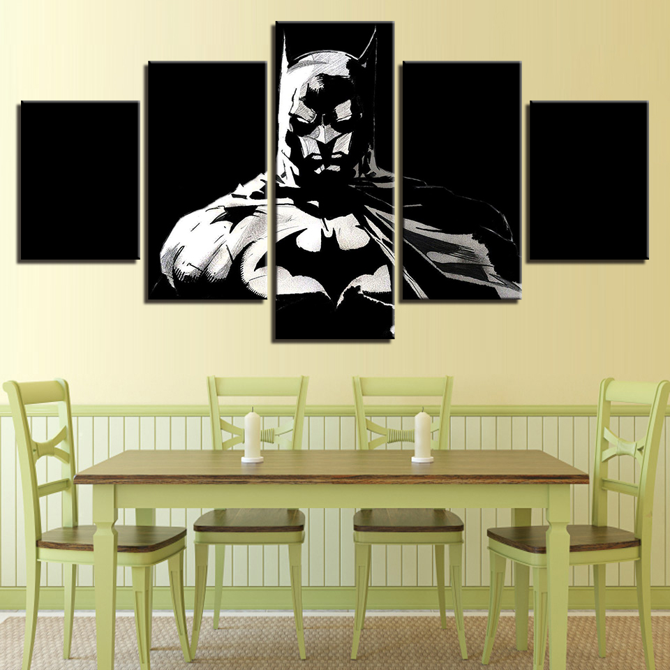 HD Art Pictures Modern Wall Home Decoration Posters 5 Panel Batman ...