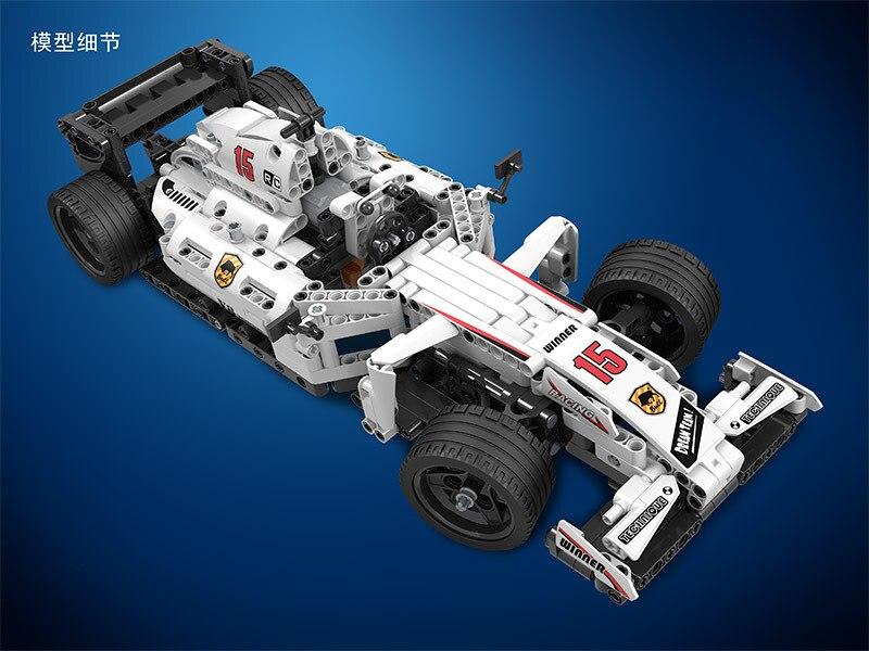 MOC F1 wyścigi samochodowe pilot zdalnego sterowania 2.4GHz Technic z silnikiem Box klocki kompatybilne klocki lego klocki zabawki dla dzieci w Klocki od Zabawki i hobby na  Grupa 3
