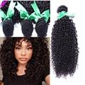 Лучший 8А Класса Перуанский Девственные Волосы Курчавые Вьющиеся Волосы Девственные 4 расслоения Вьющиеся Weave Человеческих Волос Weave Afro Kinky Фигурные Связки Волосы