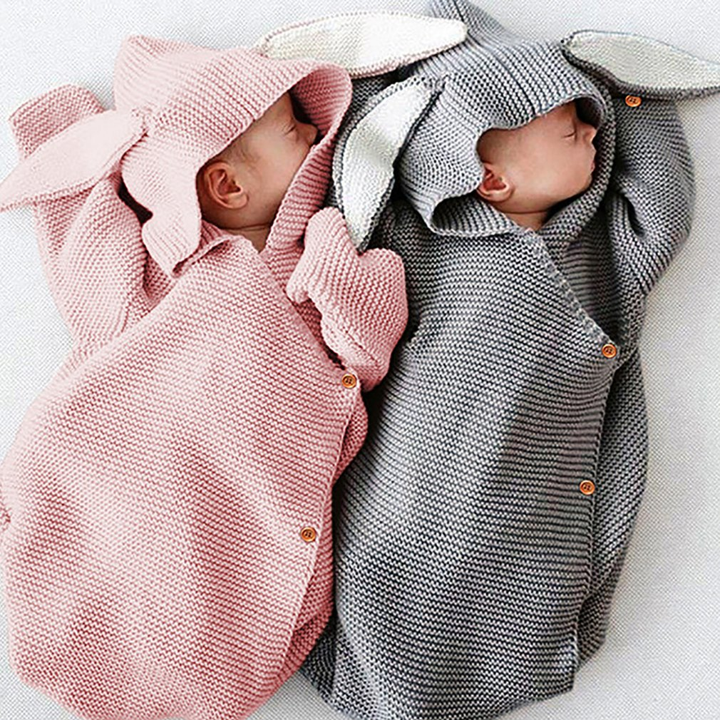 White, One Size RUIVE Baby Swaddling Blankets Thick Plush Knitting Plain Multifunctional Soft Button Infant Comfortable Sleeping Bag