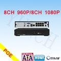 PoE NVR 8 Canais H.264 Real-tempo De Gravação Para FULL HD 1080 P Câmera IP PoE ONVIF cctv segurança sistema