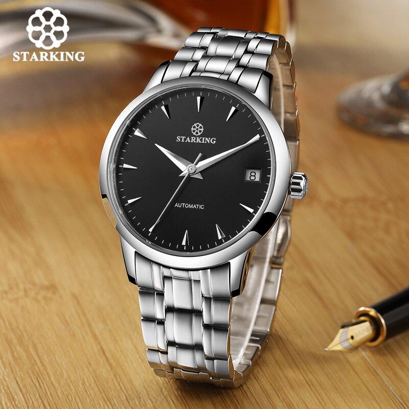 STARKING Original marque montre hommes automatique auto-vent en acier inoxydable 5atm étanche affaires hommes montre-bracelet montres AM0184 - 3