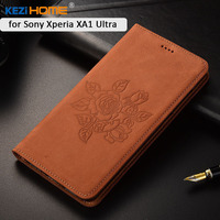 For Sony Xperia XA1 Ultra Case KEZiHOME Matte Genuine Leather Flower Printing Flip Stand Leather Cover