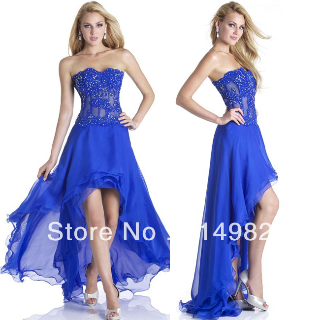 Hot sale Tulle Chiffon short front long back Lace Prom ... Lace Prom Dresses 2013