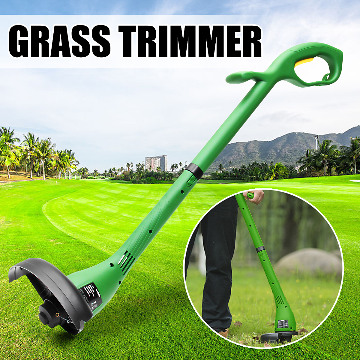 цена на 400W Electric Grass Trimmer Heavy Duty 230mm Cutting Home Garden Machine Power Tool Grass Cutter Pruning Line Trimmer Lawn Mower