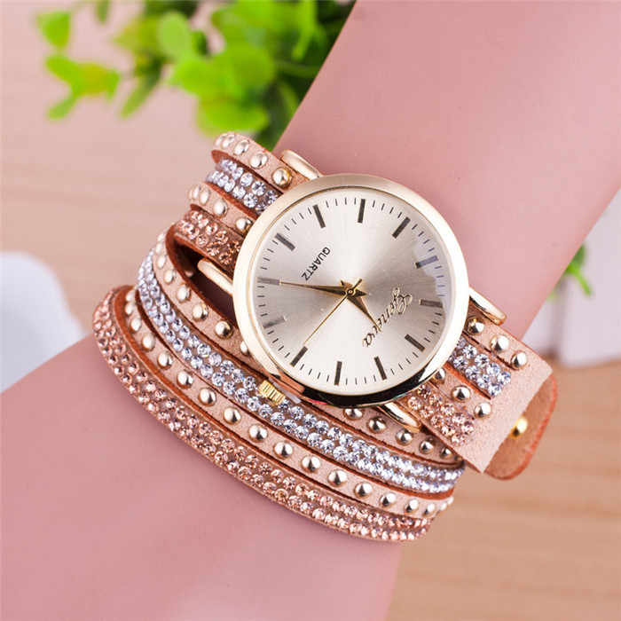 High quality luxury crystal main popular men and women`s top brand quartz colock watch leather wristwatches relogio feminino U22