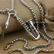 Solid 925 Sterling Silver Fashion Saxophone Pendant 9J020(Necklace 24inch)