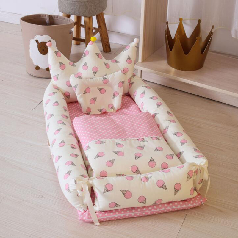 Baby Crib Portable Bed Newborn Foldable Toddler Bed Cotton Quilt Pillows 3pcs/set Bedding Baby Nursing Outdoor Travel BXX005