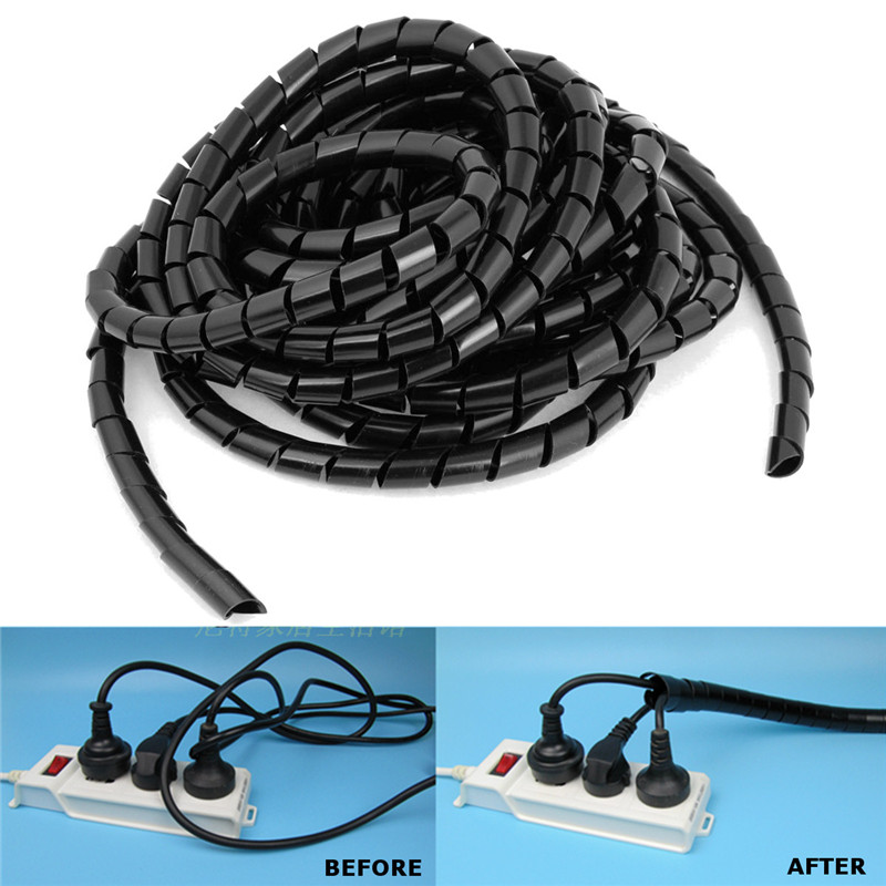 6 5m 12mm sheath tube spiral range cache cable cord wire organizer pc tv in cable sleeves from. Black Bedroom Furniture Sets. Home Design Ideas