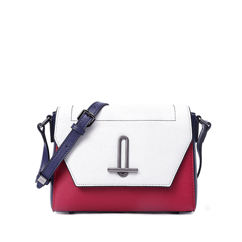 New Cover Liquor Red Bag Calfskin Shoulder Bag Fashion Stitch Personality Cross Section Square Women Messenger Bag oiwas fashionable polyester cover opening square messenger bag black