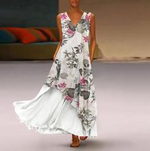 2019 Лето Fashsiualy летнее платье Плюс Размер Женщины Vintage Boho Платье V-образным Вырезом Без